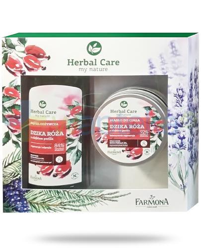 Farmona Herbal Care Dzika róża płyn do kąpieli z olejkiem perilla 500 ml + Farmona Herbal Care Dzika róża masło do ciała z olejkiem perilla 200 ml [ZESTAW]