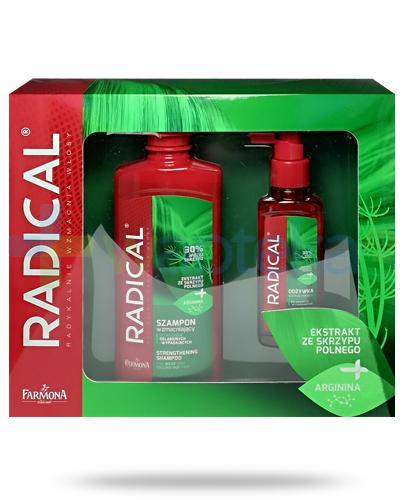 Farmona Radical szampon wzmacniający z argininą do włosów osłabionych i wypadających 400 ml + odżywka wzmacniająca z argininą do włosów osłabionych i wypadających 100 ml [ZESTAW]