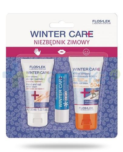 Flos-Lek Niezbędnik zimowy, krem zimowy do rąk i paznokci 30 ml + pomadka ochronna do ust UV SPF20 + krem zimowy przeciwsłoneczny SPF50+ 30 ml [ZESTAW]