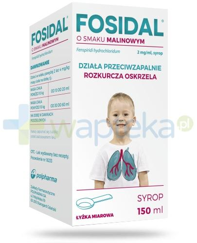 Fosidal syrop 2 mg/ml o smaku malinowym 150 ml + łyżka miarowa