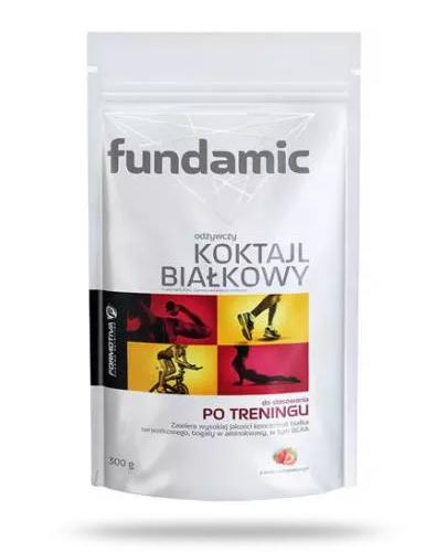 Fundamic odżywczy koktajl białkowy po treningu smak truskawkowy 300 g [Kupując 5 sztuk = bidon Fundamic GRATIS]