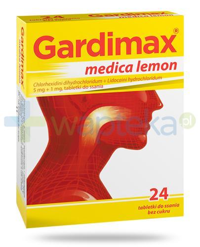 Gardimax Medica Lemon tabletki do ssania bez cukru 24 sztuk