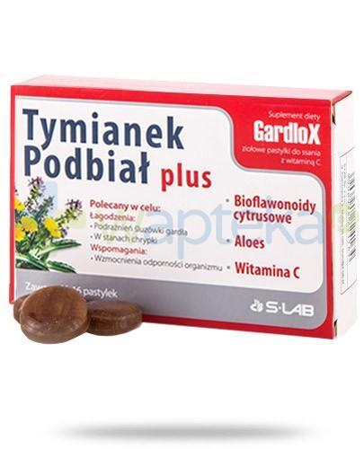 Gardlox Tymianek i Podbiał Plus ziołowe pastylki z witaminą C 16 sztuk