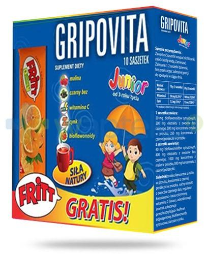 Gripovita Junior 10 szaszetek + Fritt guma owocowa 1 sztuka - NIELOT