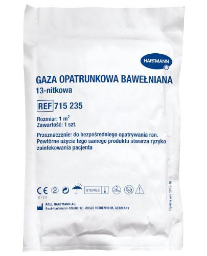 Hartmann Gaza opatrunkowa bawełniana jałowa 13 nitkowa 1m.kw 1 sztuka