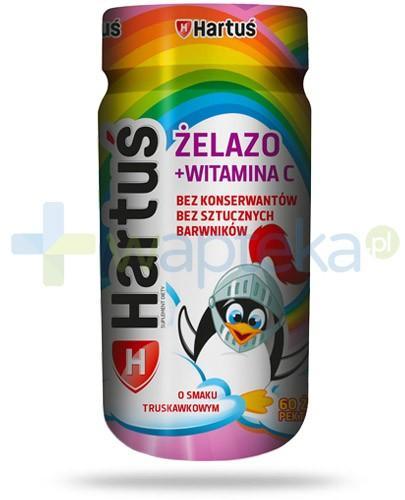 Hartuś Żelazo + witamina C żelki o smaku truskawkowym 60 sztuk