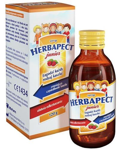 Herbapect Junior syrop na kaszel o smaku malinowym dla dzieci 120 g + Apitussic za 1grosz!