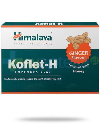 Himalaya Koflet-H Ginger, smak imbirowy, pastylki do ssania 12 sztuk