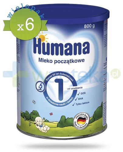 Humana 1 mleko modyfikowane początkowe od urodzenia 800 g x6 [WIELOPAK]