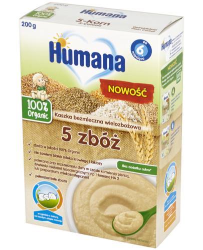 Humana 100% Organic kaszka bezmleczna 5 zbóż 200 g