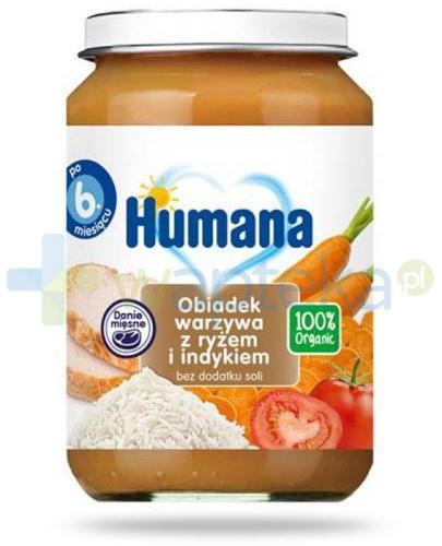 Humana 100% Organic obiadek warzywa z ryżem i indykiem 6m+ 190 g