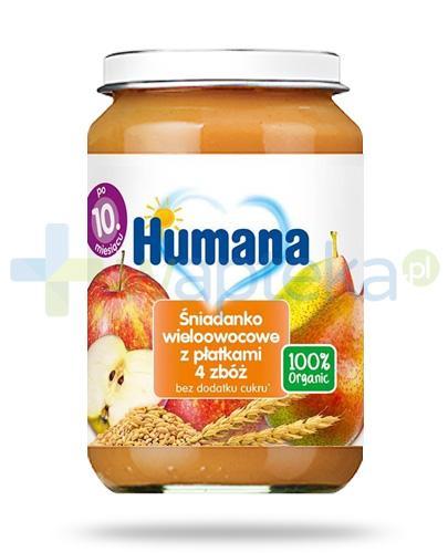 Humana 100% Organic śniadanko wieloowocowe z płatkami 4 zbóż dla dzieci 10m+ 190 g