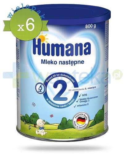 Humana 2 mleko modyfikowane następne dla dzieci 6m+ 800 g x6 [WIELOPAK]
