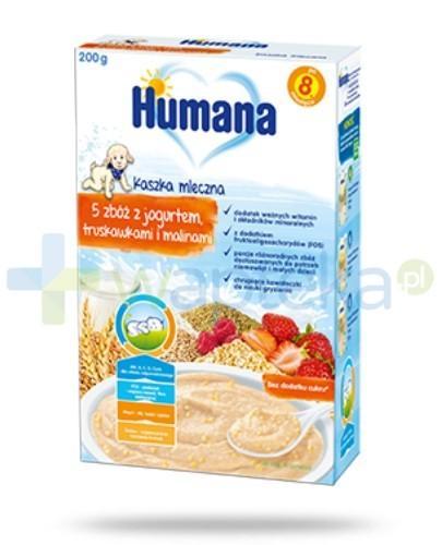 Humana kaszka mleczna 5 zbóż z jogurtem truskawkami i malinami 200 g