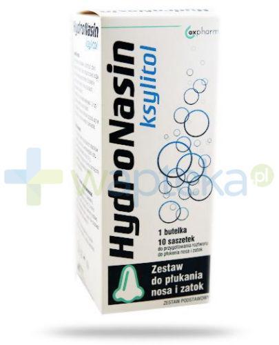 HydroNasin Ksylitol zestaw podstawowy do płukania nosa i zatok butelka + 10 saszetek