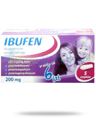 Ibufen 200mg czopki dla dzieci 6+ 5 sztuk