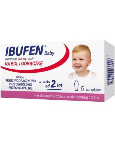 Ibufen Baby 125mg czopki dla dzieci 2+ 5 sztuk