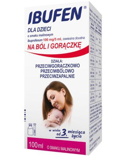 Ibufen dla dzieci 100mg/5ml zawiesina o smaku malinowym dla dzieci 3m+ 100 ml