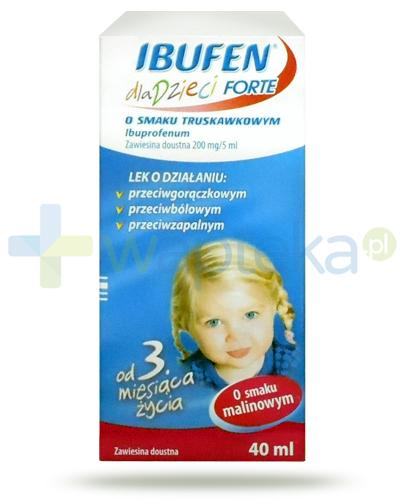 Ibufen dla dzieci Forte 200mg/5ml zawiesina o smaku malinowym dla dzieci 3m+ 40 ml