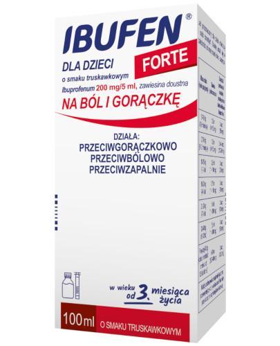 Ibufen dla dzieci Forte 200mg/5ml zawiesina o smaku truskawkowym dla dzieci 3m+ 100 ml