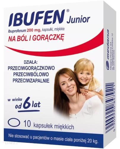 Ibufen Junior 200mg kapsułki dla dzieci 6+ 10 sztuk