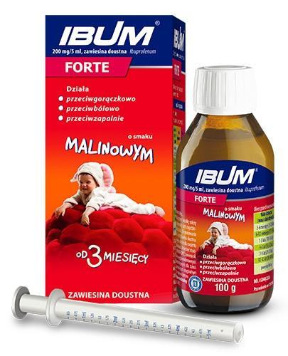Ibum Forte 200mg/5m zawiesina doustna dla dzieci od 3 miesiąca życia, smak malinowy 100 g