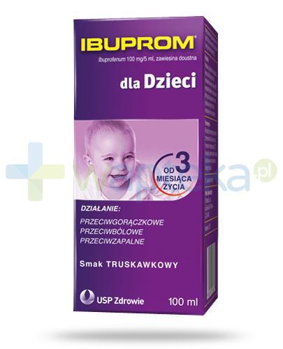 Ibuprom dla dzieci 100mg/5ml zawiesina smak truskawkowy dla dzieci 3m+ 100 ml