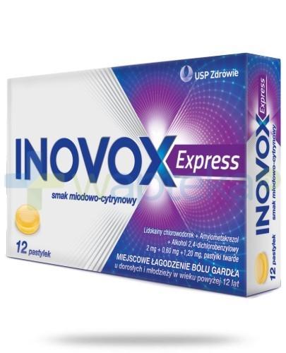 Inovox Express na gardło smak miodowo-cytrynowy 12 pastylek