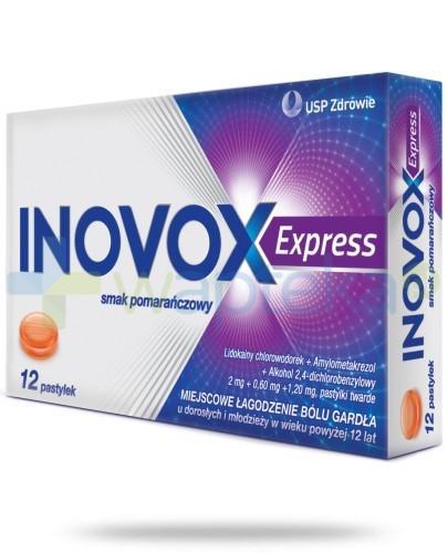 Inovox Express na gardło smak pomarańczowy 12 pastylek