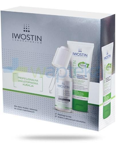 Iwostin Purritin dla skóry tłustej ZESTAW profesjonalny peeling na noc 30 ml + aktywny krem eliminujący niedoskonałości 40 ml