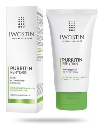 Iwostin Purritin Rehydrin nawilżający żel do mycia twarzy 150 ml + krem przywracający nawilżenie 40 ml [ZESTAW]