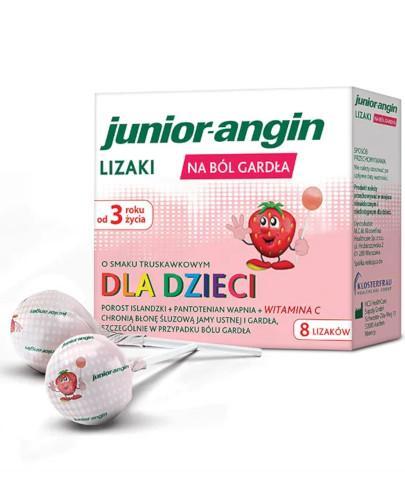 Junior-angin lizaki na ból gardła o smaku truskawkowym dla dzieci 3+ 8 sztuk