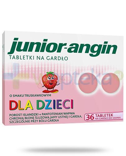 Junior-angin tabletki na gardło dla dzieci o smaku truskawkowym 36 tabletek