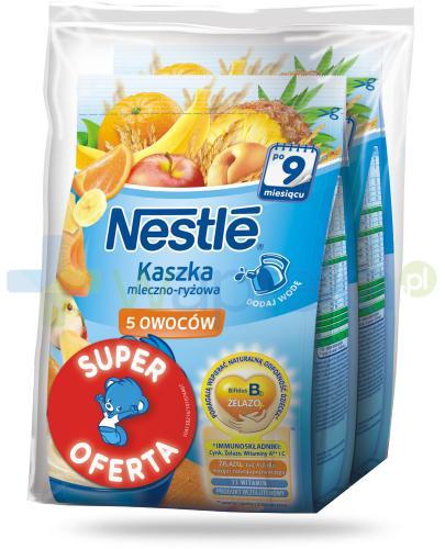 Kaszka mleczno-ryżowa Nestlé 5 owoców po 9 miesiącu 2x 230 g [DWUPAK] + łyżeczka [GRATIS]