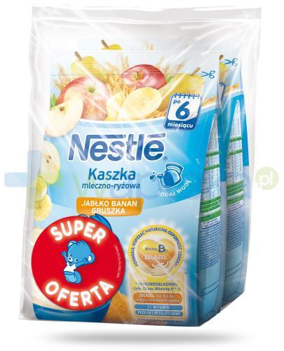 Kaszka mleczno-ryżowa Nestlé jabłko banan gruszka po 6 miesiącu 2x 230 g [DWUPAK] + łyżeczka [GRATIS]