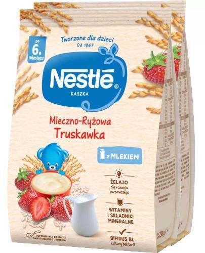 Kaszka mleczno-ryżowa Nestlé truskawka po 6 miesiącu 2x 230 g [DWUPAK] + łyżeczka [GRATIS]