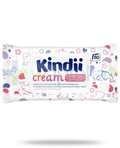 Kindii Cream chusteczki nawilżane do skóry wrażliwej, skłonnej do alergii i atopii 60 sztuk