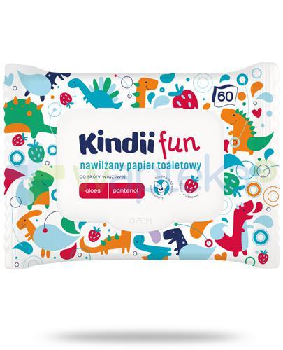 Kindii Fun nawilżany papier toaletowy z aloesem i pantenolem do skóry wrażliwej 60 sztuk