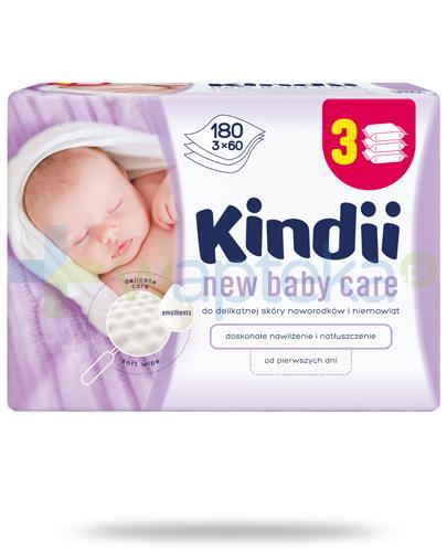 Kindii New Baby Care chusteczki nawilżane do delikatnej skóry noworodków i niemowląt 3x 60 sztuk