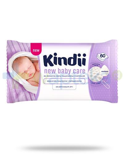 Kindii New Baby Care chusteczki nawilżane do delikatnej skóry noworodków i niemowląt 60 sztuk