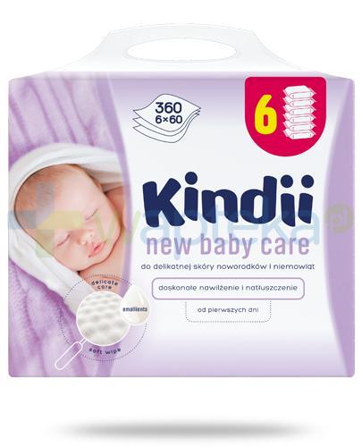 Kindii New Baby Care chusteczki nawilżane do delikatnej skóry noworodków i niemowląt 6x 60 sztuk