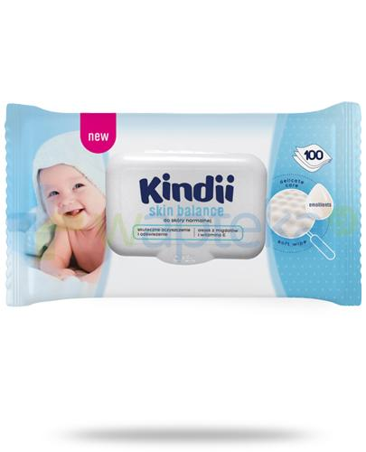 Kindii Skin Balance nawilżane chusteczki z olejkiem z migdałów i witaminą E do skóry normalnej 100 sztuk
