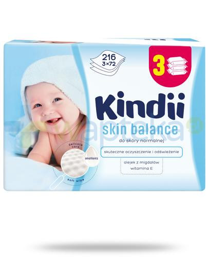 Kindii Skin Balance nawilżane chusteczki z olejkiem z migdałów i witaminą E do skóry normalnej 3x 72 sztuki