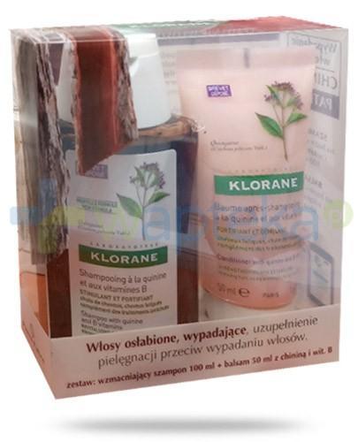 Klorane szampon na bazie chininy i witamin B 100 ml + balsam 50 ml