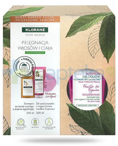Klorane szampon na bazie wyciągu z drzewa egipskiego 200 ml + Klorane Liść figowy odżywczy żel pod prysznic z organicznym masłem Cupuacu 200 ml [ZESTAW]