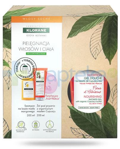 Klorane szampon na bazie wyciągu z masła mangowego 200 ml + Klorane Kwiat Hibiskusa odżywczy żel pod prysznic z organicznym masłem Cupuacu 200 ml [ZESTAW]