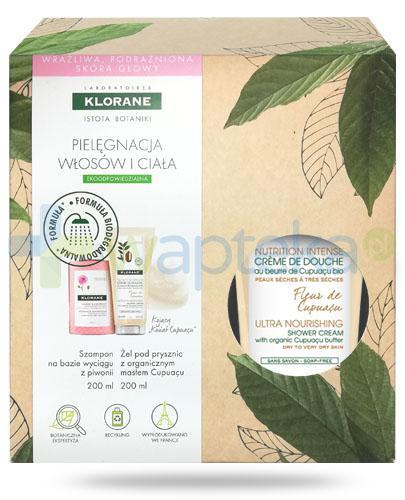Klorane szampon na bazie wyciągu z piwonii 200 ml + Klorane Kwiat Cupuacu kremowy żel pod prysznic z organicznym masłem Cupuacu 200 ml [ZESTAW]