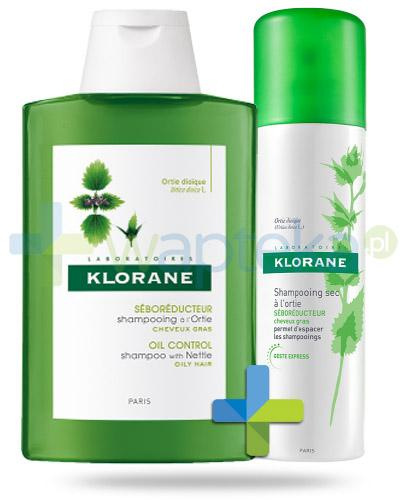 Klorane szampon na bazie wyciągu z pokrzywy 400 ml + Klorane suchy szampon na bazie wyciągu z pokrzywy 50 ml