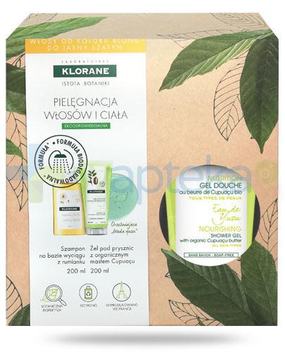 Klorane szampon na bazie wyciągu z rumianku 200 ml + Klorane Woda Yuzu odżywczy żel pod prysznic z organicznym masłem Cupuacu 200 ml [ZESTAW]