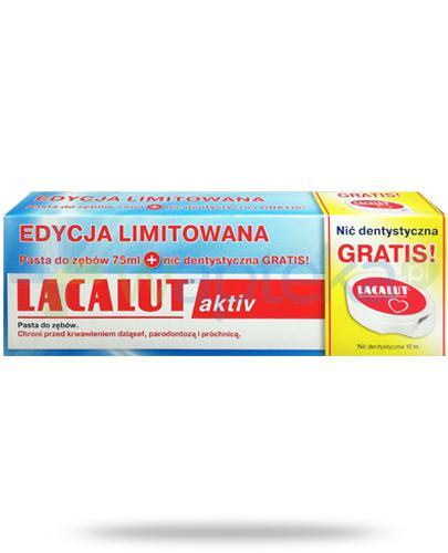 Lacalut Activ pasta do zębów 75 ml + nić dentystyczna 10 m [ZESTAW]